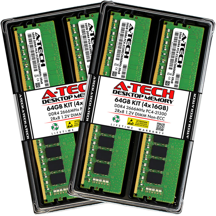 64GB Kit (4 x 16GB) DDR4-2666 (PC4-21300) DIMM DR x8 Memory RAM for Dell OptiPlex 7060 Tower