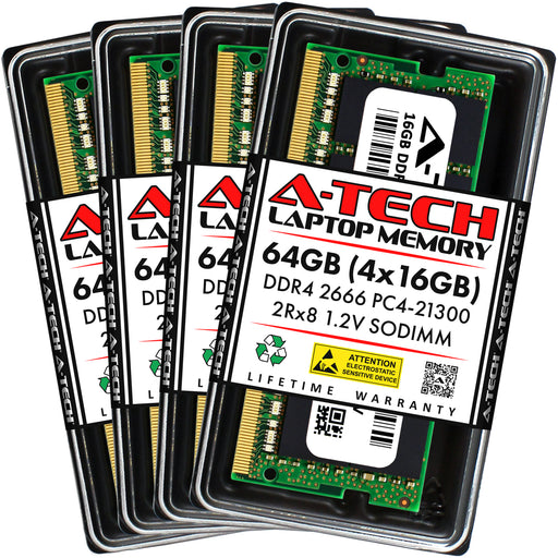 64GB Kit (4 x 16GB) DDR4-2666 (PC4-21300) SODIMM DR x8 Memory RAM for Dell Precision 15 (7510)