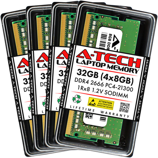 32GB Kit (4 x 8GB) DDR4-2666 (PC4-21300) SODIMM SR x8 Memory RAM for Dell Precision 15 (7510)