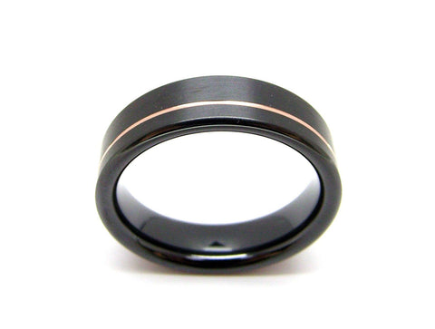 Black Zirconium Ring with 14k Rose Gold Stripe - hersteller