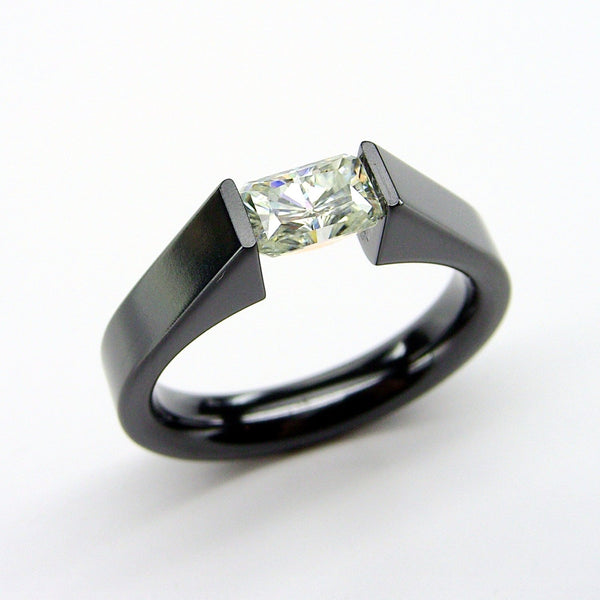 Black Zirconium Tension Set Ring with a .65 Radiant Cut Moissanite Stone - hersteller