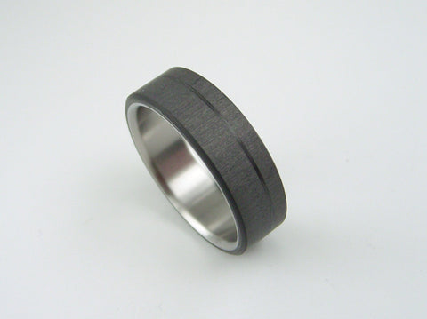 Carbon fiber and Titanium ring -- Pinstripe (satin interior) - hersteller