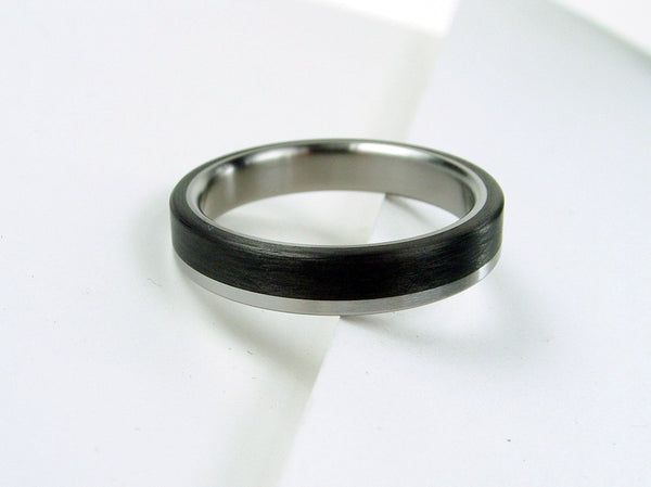 Carbon Fiber and Titanium Ring -- Titanium Stripe (narrow) - hersteller