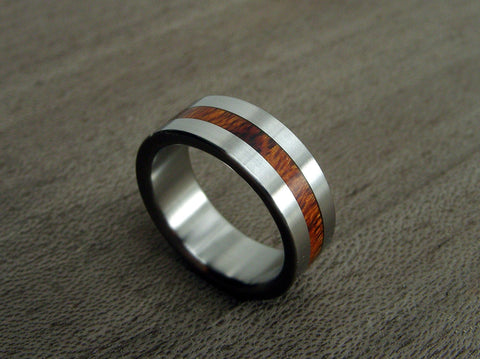 Exotic Rosewood and Titanium Wedding Ring -- Centered Rosewood Stripe - hersteller