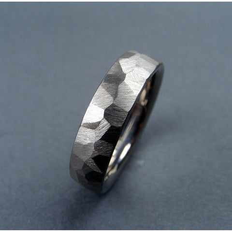 Handmade One Of A Kind Titanium Wedding Ring   Faceted Freehand Ground Ring