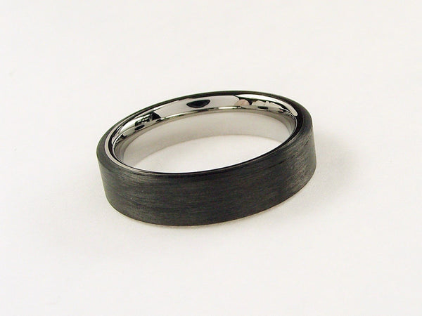 Handwound Black Carbon Fiber and Titanium ring -- Polished Interior - hersteller