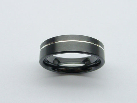 Black Wedding Band in Zirconium and Silver