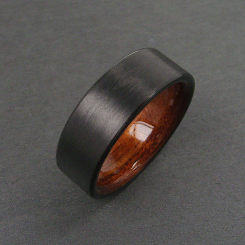 Wood Wedding Ring in Carbon Fiber and Bent Rosewood