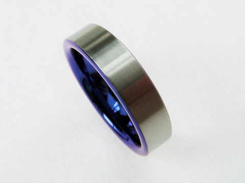 Titanium ring -- cobalt blue and satin - hersteller