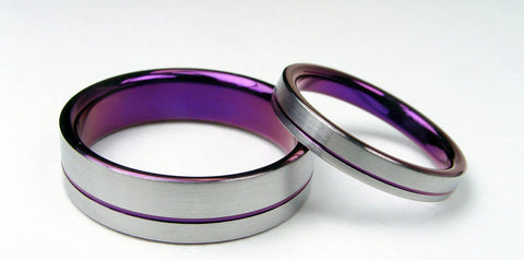 Titanium Ring Set -- Purple Interior with Purple Pinstripe - hersteller