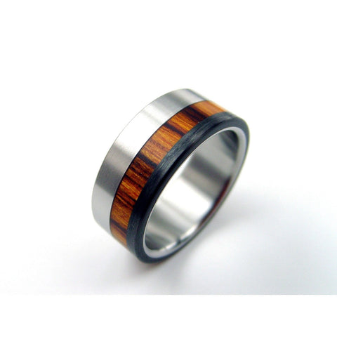 Titanium Ring with Rosewood and Carbon Stripes - hersteller