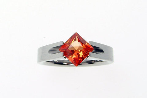 Titanium Tension Set Ring with Princess-cut Padparadscha Sapphire - hersteller