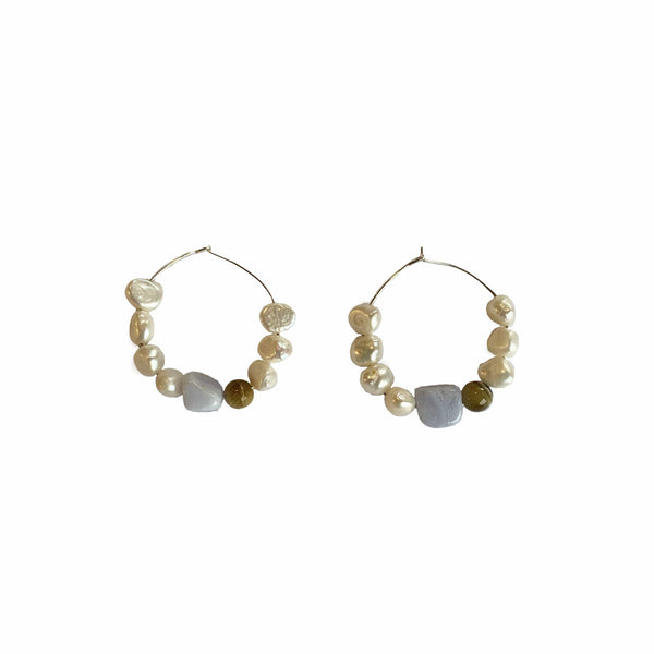 Avalon Pearl Gemstone Hoops