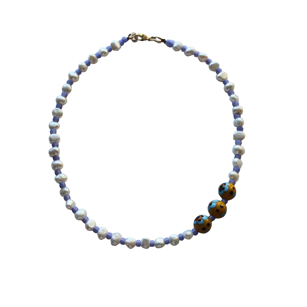 freshwater pearl necklace with glass millefiori beads. Periwnkle blue