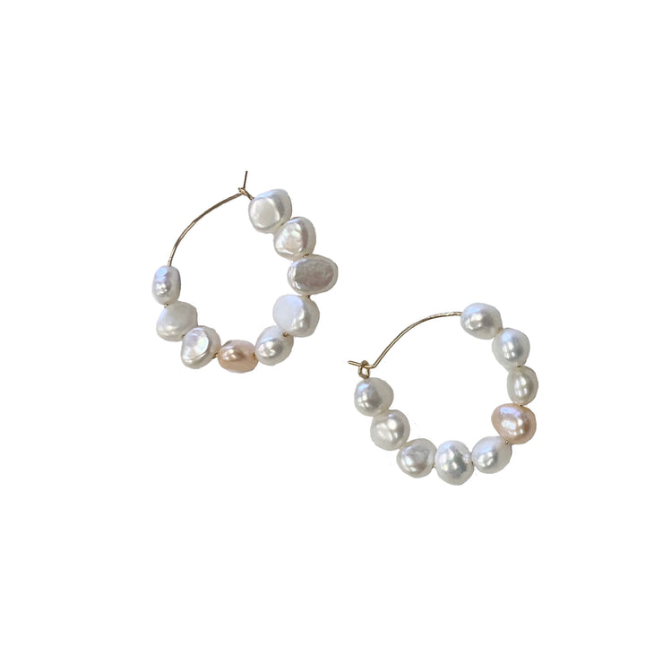 australian white freshwater pearl hoop earrings with 14 karat gold for sensitive ears
