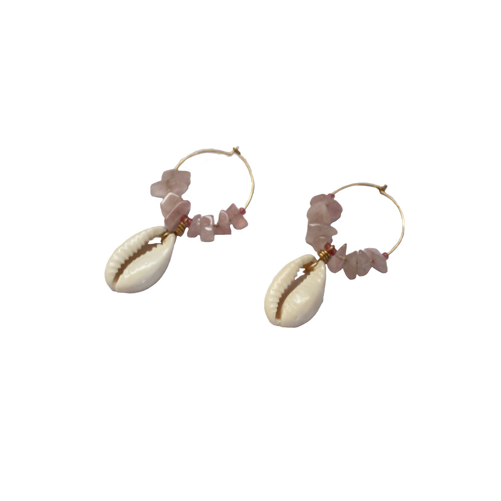 Cowrie shell earrings with rose quartz