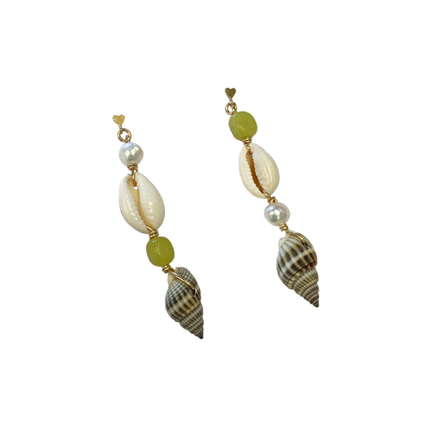 beachy seashell and freshwater pearl earrings with green gemstone. 14 karat gold jewelry
