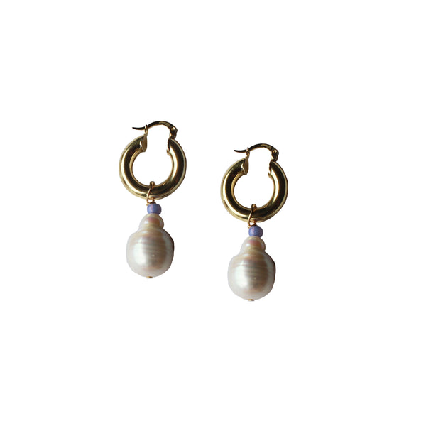 baroque pearl hoop earrings gold