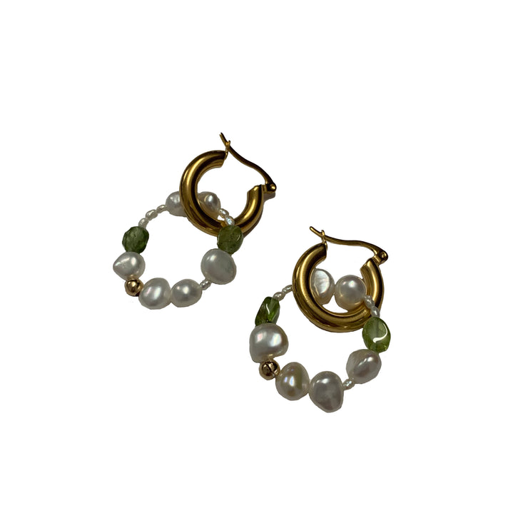 Pearl Peridot gold hoop earrings australia