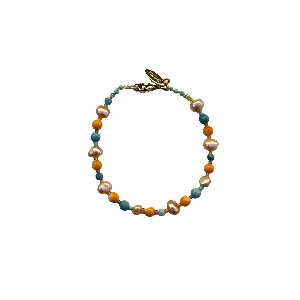artisanal multicolored gemstone and pearl anklet jewelry with orange pink and blue  ankle jewellery