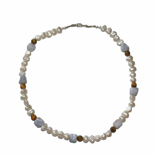 freshwater pearl necklace with calming blue lace agate and tigers eye. Peace throat chakra. artisan made australia