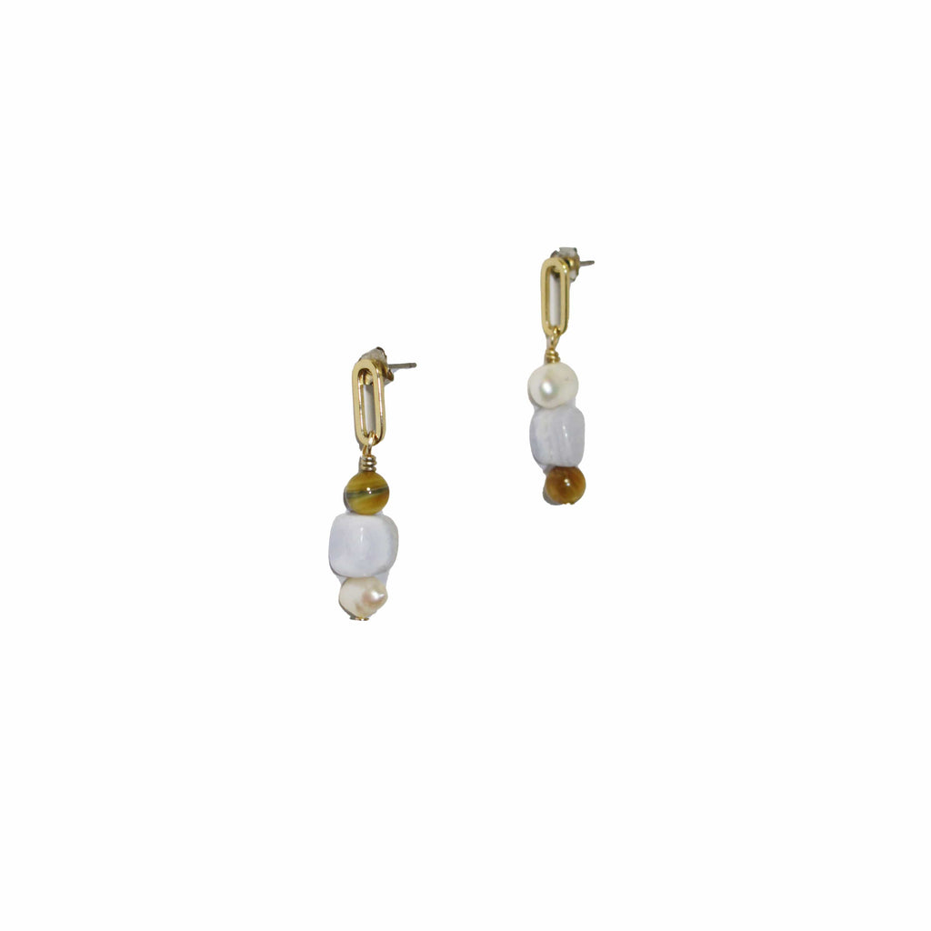 demi fine gold earrings with pearls and agate gemstone. Classic jewellery statement earrings