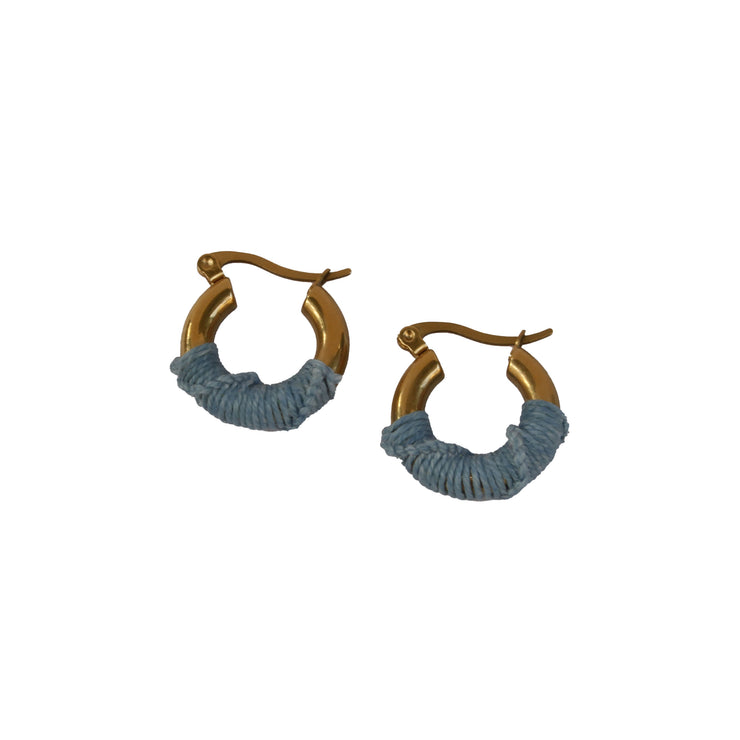 gold blue chunky hoop earrings