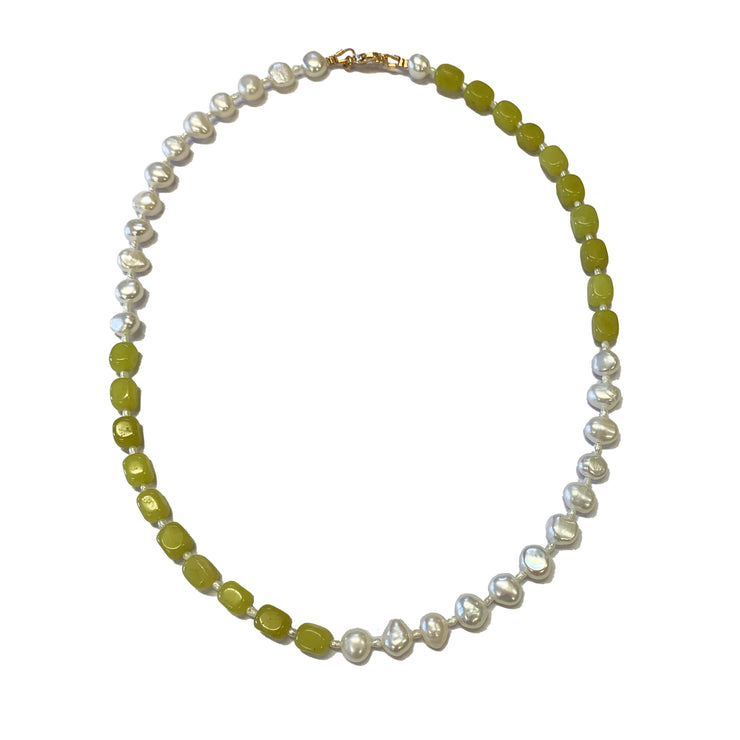 Handmade green pearl necklace. Australian freshwater pearls
