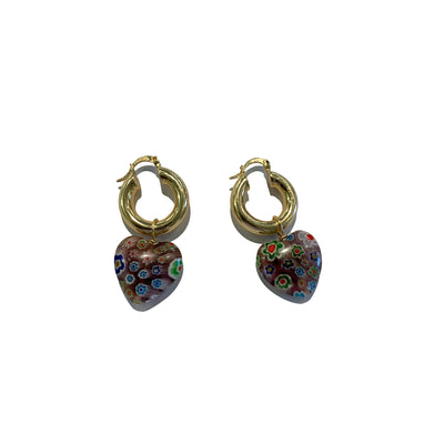 italian millefiori murano heart gold hoop earrings- sustainably hand made