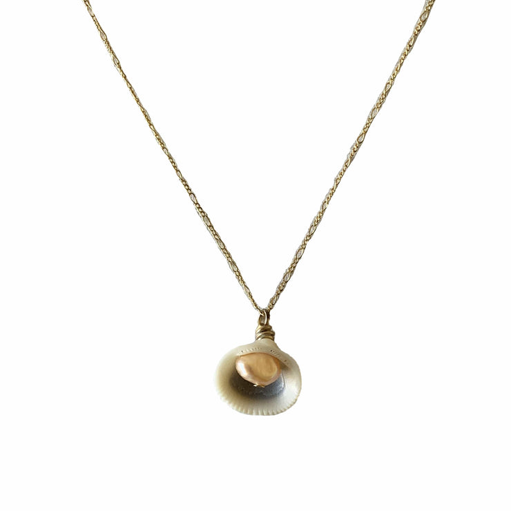 shell and pearl gold necklace made to order by Briwok Jewellery