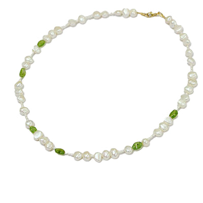 Peridot and freshwater pearl necklace hand made in Australia. fair trade and sustainable