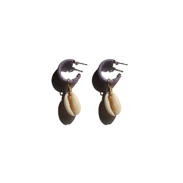bohemian cowrie shell colorful hoop earring. Playful beach accessories
