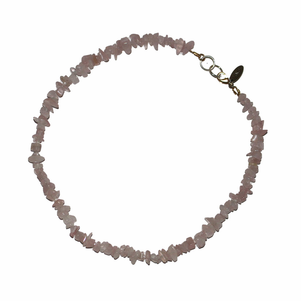 pink Rose quartz and pearl  love necklace