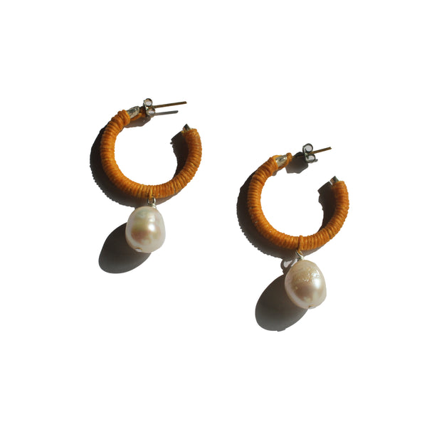 beachy boho pearl hoop earrings handcrafted in australia