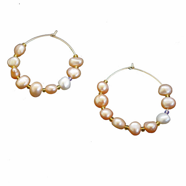 beautiful gold pearl hoop earrings