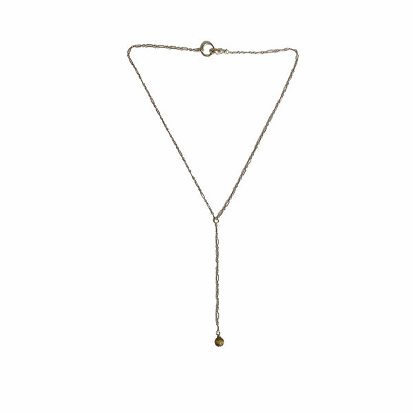 dainty sterling silver lariat necklace with tigers eye gemstone. healing properties for fear and anxiety
