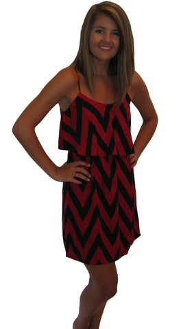 Garnet & Black Chevron Dress