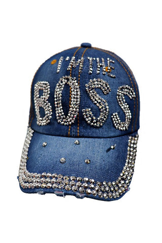 """I'M THE BOSS"" Bling Cap Denim"