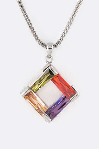 Designer Inspired CZ Baguette Iconic Pendant Necklace Dark Multi-Color