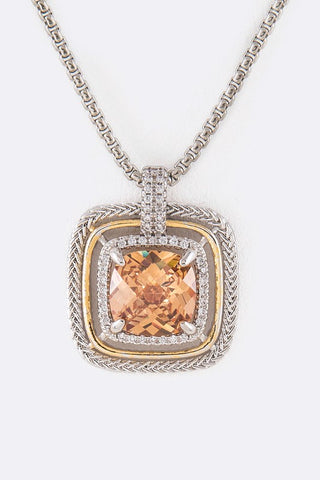 Designer Inspired CZ Square Pendant Necklace Amber
