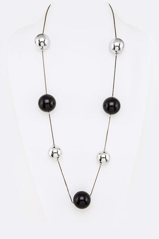Jumbo Pearl Station Long Necklace Black and Silver