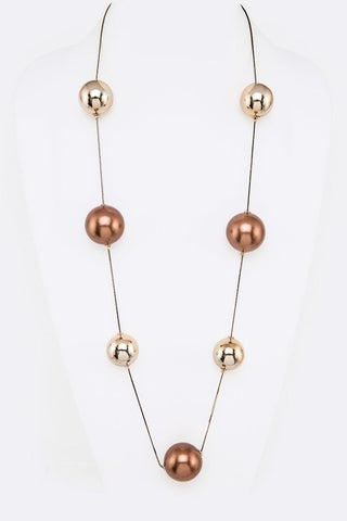 Jumbo Pearl Station Long Necklace Gold and Bronze