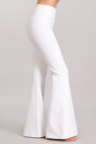 Chatoyant Ponte Flare Bell Bottoms White