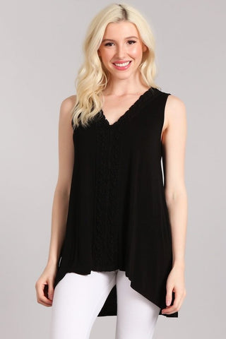 Chatoyant Hi-Low V-neck  Sleeveless Top Black