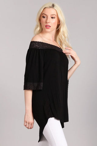 Chatoyant Off Shoulder Tunic Top Black