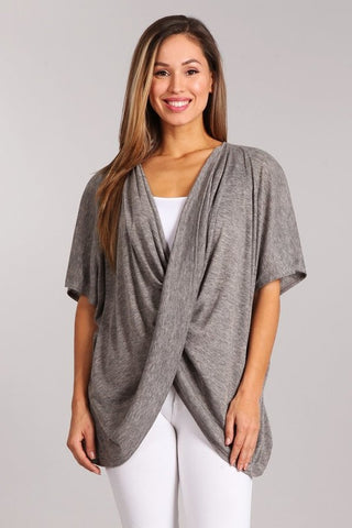 Chatoyant Heather Knit Wrap Top Heather Gray