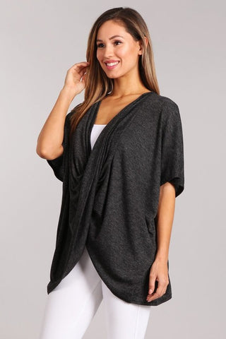 Chatoyant Heather Knit Wrap Top Heather Black