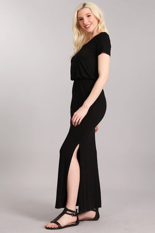 Chatoyant Casual Maxi Dress  Heather Black