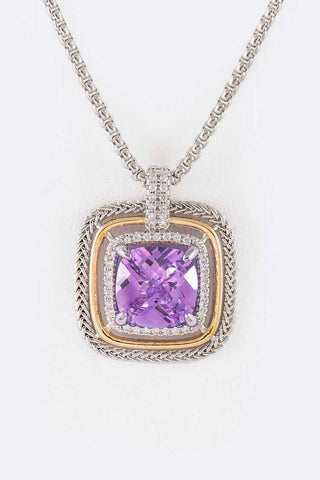 Designer Inspired CZ Square Pendant Necklace Amethyst