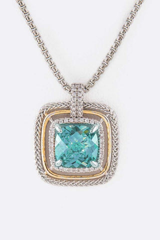 Designer Inspired CZ Square Pendant Necklace Aqua